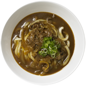 Curry Udon: Udon noodles served in our spicy Japanese curry dashi soup with beef, onions, and sliced green onions.