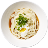 On-tama Udon: Udon noodles served hot or chilled and lightly dressed with our dashi-shoyu sauce, an On-tama (hot spring egg), sliced green onion and grated fresh ginger.