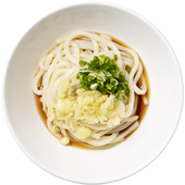 Sauce Udon: Udon noodles served hot or chilled and lightly dressed with our dashi-shoyu sauce, sliced green onions, fresh grated ginger and Ten-kasu.