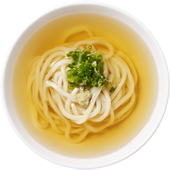 Soup Udon: Udon noodles served hot in our original dashi broth with sliced green onions and grated fresh ginger. Vegetarian broth also available.