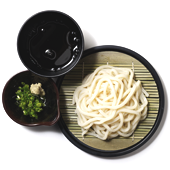 Zaru Udon: Udon noodles served chilled with a frangrant soy dipping sauce, sliced green onion, grated fresh ginger, Ten-kasu and wasabi (upon request) to add to your dipping sauce.