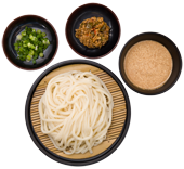Tan Tan Goma Zaru: Chilled fresh udon noodles served on a zaru mat with our signature sesame dipping sauce, sliced green onions, and a spicy Tan Tan pork on the side. For the spicy food lovers!