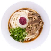 Ume Niku Oroshi: Udon noodles served with sukiyaki braised beef, topped with sliced green onions, grated fresh ginger and minced pickled umeboshi plum